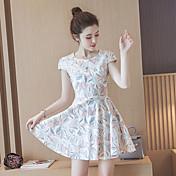 夏の新しい韓国の女性スリムウエストコットン花の印刷スカート気質の王女のドレス