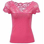 2017夏の新しい到着の女性' sのセクシーなレースのステッチTシャツVネックTシャツ