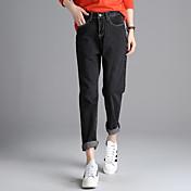 春2017韓国語バージョンでの記号は薄い緩い腰ワイドレッグジーンズ、黒とグレーのデニムパンツ崩壊の女性でした