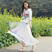 realmente hacer mejoras diarias en la ropa china del té camisa de manga ropa de algodón bordado de gasa falda de dos piezas