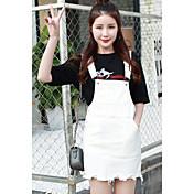 Signo de verano nuevo coreano instituto de viento salvaje denim correa vestido casual mujer estudiante falda corta