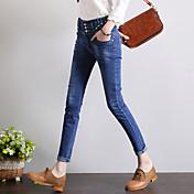 firmar el abdomen de la cintura de los pantalones vaqueros pies delgado era delgada pantalones lápiz del estiramiento salvaje coreano