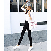 ばねモデルパンスト弾性ウエストジーンズをスリムの韓国語バージョンをした署名薄い鉛筆パンツ黒パンツ
