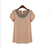 * Las nuevas mujeres europeas y americanas&# 39; s de cuentas de gasa camisa de manga corta de verano de loto manga gasa blusa