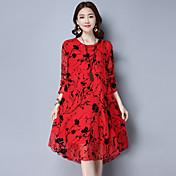 実際のショットの夏2017ファッションのプリントシルク緩い長袖のドレスフェイクツーピースドレス