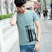 半袖の男性にサインする' 2017夏の新人'半袖プリントコットンTシャツスリム