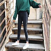 Signo netos de moda franja franja franja pantalones vaqueros pies femeninos delgada era delgada lápiz pantalones nueve puntos