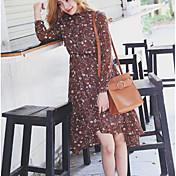 Versión coreana de los modelos de primavera de manga larga vestido floral de la cintura hada elegante de largo y corto en la sección de