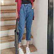 Mujer Gráficos Tiro Medio strenchy Corte Ancho Pantalones,Corte Ancho Color sólido
