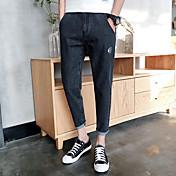 primavera y verano nuevos huesos de pescado japonés vaqueros adolescentes personalidad bolsillo trasero de los pantalones de animal print