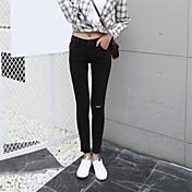 firmar modelos del resorte pantalones vaqueros negros de cintura alta coreano desgastados pantalones lápiz fino pies pantimedias Flash