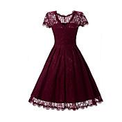Mujer Corte Swing Vestido Fiesta Trabajo Vintage Sofisticado,Un Color Escote Redondo Sobre la rodilla Manga Corta Rayón PoliésterPara