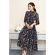 signo vestido plisado de gasa de manga larga 2017 modelos de primavera femenina larga sección de vestido de cintura alta del vestido