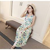 Real de disparo de verano nuevo temperamento señoras mariposas v-cuello delgado puesto en un vestido de playa vestido de gasa vestido