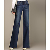 Feminino Simples Cintura Alta Elástico Jeans Calças,Delgado Bootcut Sólido