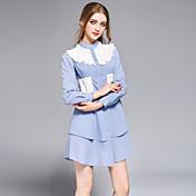 Mujer Camisa Vestido Noche Casual/Diario Fiesta/Cóctel Simple Bonito Chic de Calle,A Rayas Cuello Camisero Mini Manga Larga Algodón