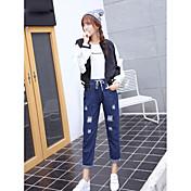 firmar los pantalones vaqueros flojos del agujero de cintura ajustada versión coreana de pantimedias casual femenino de 9 puntos