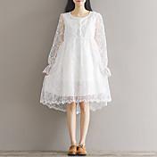 甘い春の新しい文学緩いドレスの刺繍に署名