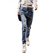Mujer Un Color Tiro Medio strenchy Corte Ancho Pantalones,Corte Ancho Color sólido Color puro