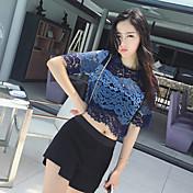 2017人の女性' sの夏の半袖レースのジャケットは、透かし彫りのレースのシャツの薄い短いパラグラフ韓国語バージョンでした