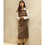 Corea comprar el abierto vestido de chaleco único vestido de tartán retro