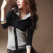 Señoras hechizo salvaje color solapa delgada de manga larga camiseta