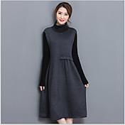 Signo de primavera bottoming nuevo vestido de punto de invierno engrosamiento delgado era fino vestido de manga larga y largas secciones