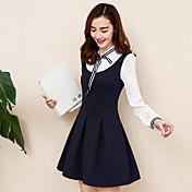 Sign 2017 primavera arco nuevo falso dos de manga larga vestido de cuello de muy buen gusto falda plisada era delgada