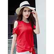 Signo 2017 verano nueva camisa pequeña camisa de gasa versión coreana era delgada floja cuello redondo sin tirantes de manga corta