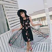 Mujer Corte Ancho Vestido Casual/Diario Simple,Floral Escote Redondo Hasta la Rodilla Manga Corta Poliéster Verano Tiro Medio Rígido Fino