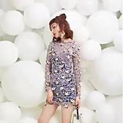 Estrella del resorte del sp 2017 con las mujeres atractivas del vestido del cordón del vestido delgado era falda fina de la base