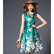 -2017新しい春のプリントワードのドレスの本物のショット