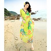2017 elegancia quinta impresión de tinta de manga suelta grandes yardas de lujo vestido de seda de seda vestido de playa