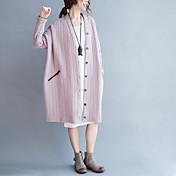 レディース 赤ちゃん ストリート 春 秋 コート,クラシック・タイムレス Vネック 純色 ロング コットン 長袖