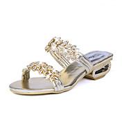 Mujer Zapatillas y flip-flop Sandalias Confort PU Primavera Verano Casual Confort Purpurina Tacón Plano Dorado Negro PlataMenos de 2'5