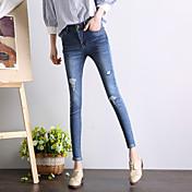 signo de la primavera de 2017 nuevos pies femeninos altura de la cintura los pantalones vaqueros del agujero de la rodilla medias de gran