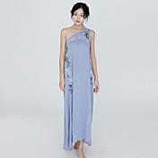 Mujer Línea A Vestido Vacaciones Playa Simple Sofisticado,Un Color Un Hombro Maxi Algodón Verano Rígido