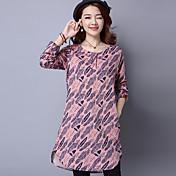 Signo 2017 primavera nueva impresión de gran tamaño de las mujeres&# 39; s de manga larga vestido falda camisa de ocio