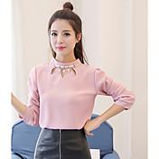 Mujer Simple Noche Camisa,Escote Redondo Un Color Manga Larga Algodón