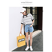 Mujer Chic de Calle Tiro Alto Microelástico Vaqueros Shorts Pantalones,Corte Recto Un Color