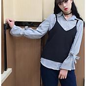Mujer Simple Casual/Diario Tank Tops,Escote en Pico Un Color Sin Mangas Algodón