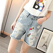 Mujer Sencillo Tiro Medio Microelástico Shorts Vaqueros Pantalones,Corte Recto Corte Ancho Un Color