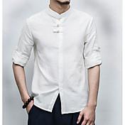 Hombre Tejido Oriental Casual/Diario Verano Camisa,Escote Chino Un Color Lino