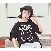 Mujer Simple Casual/Diario Camiseta,Escote Redondo Estampado 1/2 Manga Algodón