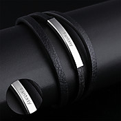 Regalos personalizados-PulserasAcero inoxidable Cuero-Plata Negro-