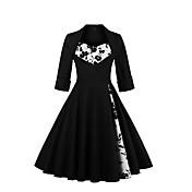 Mujer Línea A Corte Swing Vestido Fiesta Noche Vintage Sofisticado,Floral Estampado Escote Cuadrado Hasta la Rodilla Algodón LicraPara