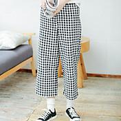 Mujer Sencillo Chic de Calle Activo Tiro Alto Chinos Pantalones de Deporte Pantalones,Corte Recto Perneras anchas Cuadrícula