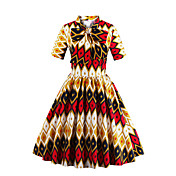 Mujer Línea A Vestido Noche Fiesta/Cóctel Vintage,Estampado Escote Chino Hasta la Rodilla Manga Corta Algodón Para Todas las Temporadas
