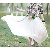 Mujer Tiro Alto Maxi Faldas,Columpio Un Color