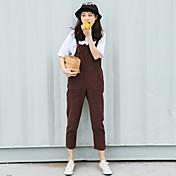 Mujer Sencillo Tiro Alto Microelástico Mono Pantalones,Perneras anchas Un Color